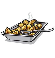 Hot roasted potatoes vector