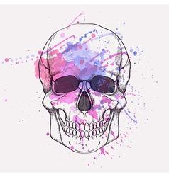 Human skull with watercolor splash vector