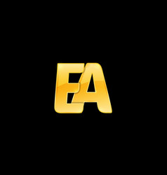Initial letter ea with red metallic texture vector