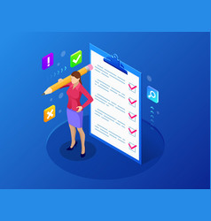 isometric businesswoman with checklist and to do vector image