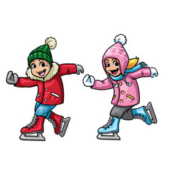 Kids ice skating vector