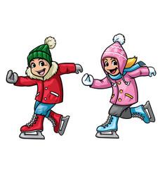 kids ice skating vector image