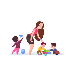 kindergarten time cute cartoon toddlers adorable vector image