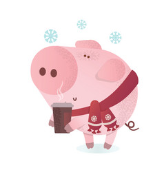 let it snow banner cute pig with a hot coffee vector image