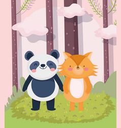 little panda and fox cartoon character forest vector image