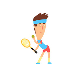 Man playing tennis young player in blue t-shirt vector