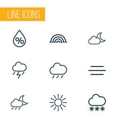 Meteorology outlines set collection of wind vector