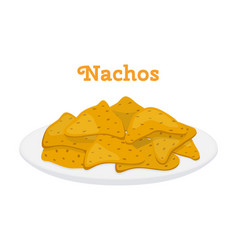 Nachos mexican chips cartoon flat style vector