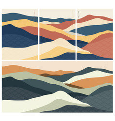 Natural landscape background with japanese wave vector