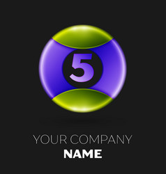 number five logo symbol on colorful circle vector image