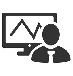 Online trader flat icon vector