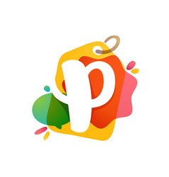 p letter logo with sale tag icon watercolor vector image