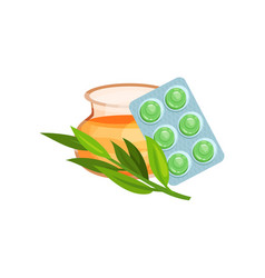 package of lozenges with honey and eucalyptus herb vector image