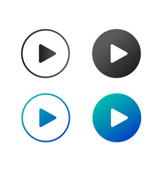 play icon set in circles play buttons can be used vector image