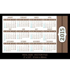 Pocket Calendar 2015 start on Sunday vector image
