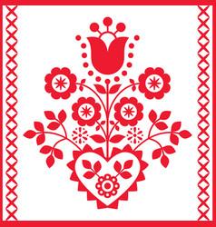 polish floral folk art design vector image