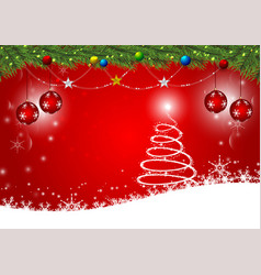red background for happy new year and christmas vector image