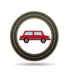 red car side circle road way design vector image