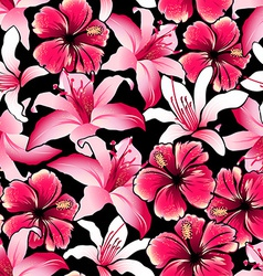 Red tropical hibiscus flowers seamless pattern vector