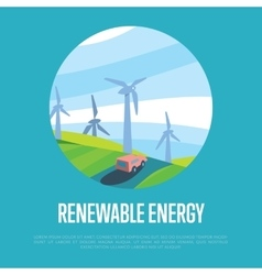Renewable energy banner Wind power generation vector