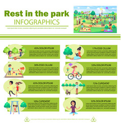 Rest in park infographics poster with pictures vector