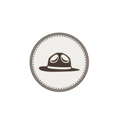 Scout hat sticker icon vintage hand drawn vector