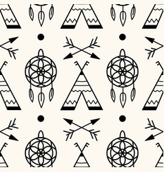 Seamless geometric pattern with wigwams vector