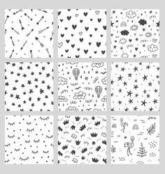seamless magic patterns set vector image