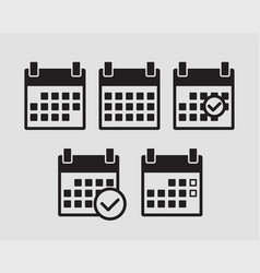 set calendar icons flat line design vector image