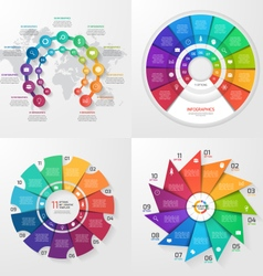 set of 4 infographic templates with 11 options vector image