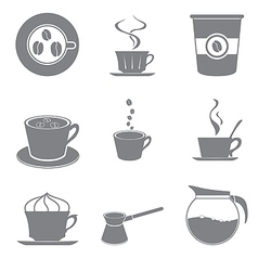 Set of beautiful gray icon coffee theme vector