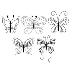 Set of cute cartoon butterflies isolated on white vector
