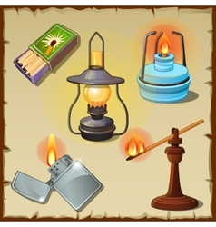 Set tourist from matches lamps torch vector