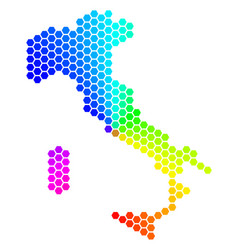 spectrum hexagon italy map vector image