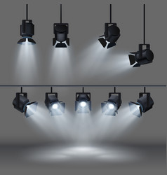 Spotlights with bright white light shining stage vector