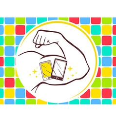 Strong man hand with icon of white and b vector