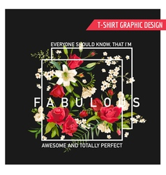 Summer Rose and Lily Flowers for T-shirt Fashion vector