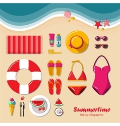 Summertime flat lay infographic vector image