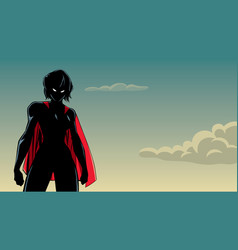 superheroine battle mode sky silhouette vector image