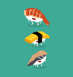 sushi shrimp egg mackrel funny image vector image