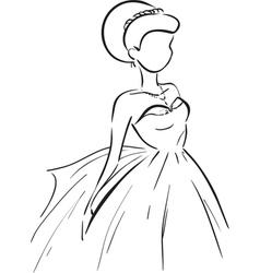 Symbolic bride in dress vector