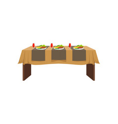 table in restaurant for three people festive vector image