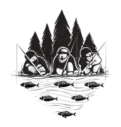 Three Fisherman Sitting on River Bank with Rods vector