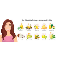 Top 10 hair oils advert woman and fruits vector