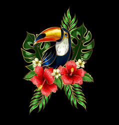 Toucan embroidery patches with tropical flowers vector