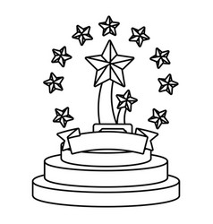trophy cup with stars black and white vector image