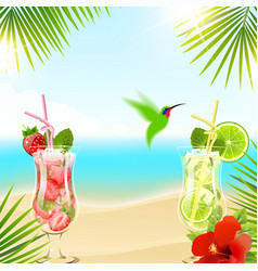 Tropical background with cocktails vector