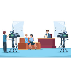 tv studio interview talk show in broadcasting vector image