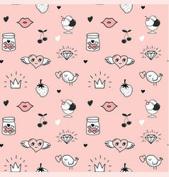 Valentines day background and seamless pattern vector