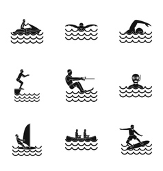 Water exercise icons set simple style vector